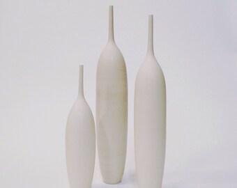Ships Now- 3 tall large ceramic pottery vases bottles stoneware sara paloma pottery white vase white ceramics mid century modern pot