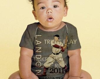 Baseball Baby Shirt, Personalized Baby Boy Baseball Snap-Shirt, Infant Boy Clothing