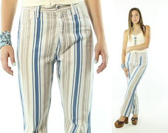 Vintage 70s Flared Jeans High Rise Waisted Bell Bottoms Pants Trousers Striped Denim 1970s Medium M Waldorf Blue White
