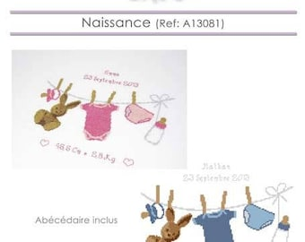 Birth chart cross stitch pattern