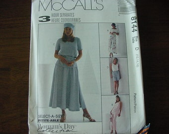 Vintage 1990s McCalls Pattern 8144, Misses' Top in 2 Lengths, Pull On Pants, Shorts, Skirt, Multi Size 12-14-16