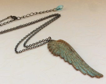 Angel Wing Necklace- Brass Wing Jewelry, NEW VERDIGRIS Color, VINTAGE Green Patina Wing, Angel Wing Pendant, Verdigris Necklace, Pretty Gift