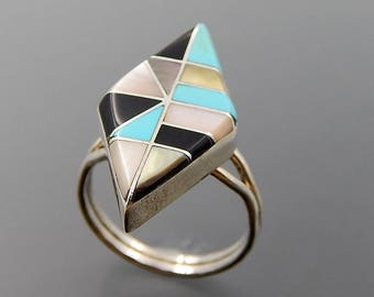 Vintage Zuni sterling silver turquoise mop jet mosaic inlay rhombus ring size 7