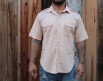 Men's Vintage Peach Short Sleeve Casual Shirt