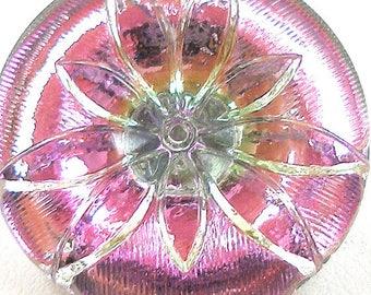 Czech glass BUTTON, Pink & silver flower, 1 inch, 27mm.