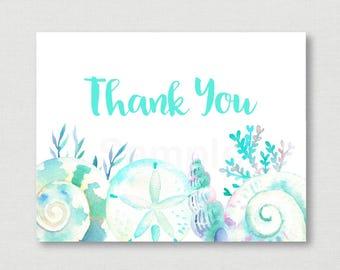 Beach Bridal Shower Thank You Card / Beach Bridal Shower / Seashell Bridal Shower / Watercolor Seashells / PRINTABLE Instant Download B103