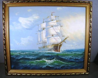 Listing 363 is the Vintage Painting ship on choppy sea