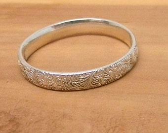 Our Secret Garden Sterling Silver Wedding Band Promise Ring