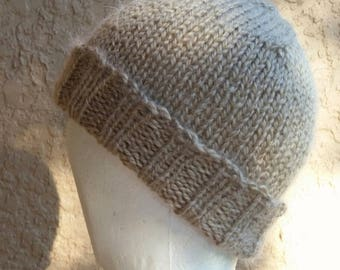 Stocking cap, watch cap, longshoremans hat, beanie, skull cap tan, beige, brown, taupe. Hand knit stocking cap, beanie or skull cap