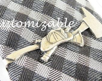 Fireman Tie Bar Sterling Silver Finish Fireman Tie Clip Gifts For Men Personalized Custom Tie Bar