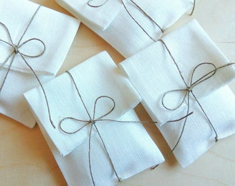 Set of 5-25 linen packaging pouches/envelopes.Favor /gift/candy /jewelry packaging bags. Wedding favors. Baby Shower Christening.