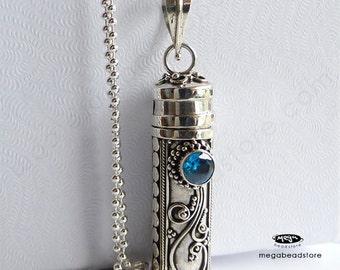 Blue Zircon Treasure Pendant Bali w/ 30 inch 925 Sterling Silver Necklace- P25