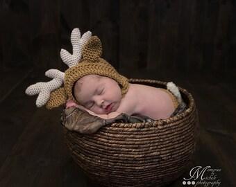 Pattern- Crochet Newborn Deer Hat and Diaper Cover Set, Crochet Newborn Reindeer or Deer Photo Prop, Babies First Christmas Crochet Pattern