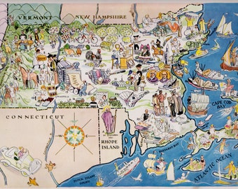 30's MASSACHUSETTS Picture Map Pictorial State Cartoon Map Print Travel Map Gallery Wall Art Gift for Map Collector Traveler Wedding
