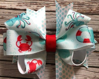 Beach crab octopus lifesaver hair clip barette