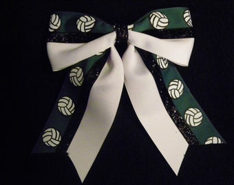 Forest Green and White Volleyball Hairbow