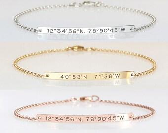 Graduation gift for her, Engraved bracelet with coordinates Reversible bracelet, Location Longitude Latitude bracelet 2 sides engraved, GPS