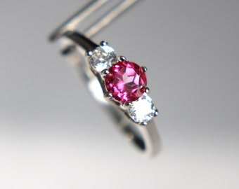 Pure Pink Topaz Round in an Accented Sterling Silver Ring