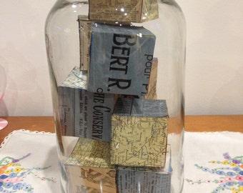 wooden childrens' blocks in vintage glass jar