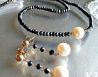 Mystic Black Spinel and Pearl Necklace Set. Black Spinel Necklace. Black Spinel earrings. Mystic Spinel jewelry.