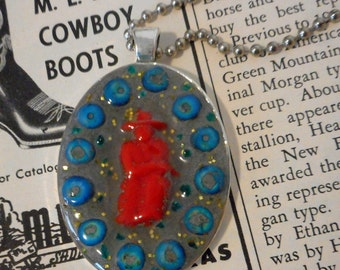 Vintage Red Cowboy Necklace Contemporary Western Assemblage Art Handmade Turquoise