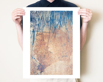 Industrial fine art photography print. Rust photograph, abstract metallic decor, rusty metal urban artwork. Large format wall art, Tom Bland