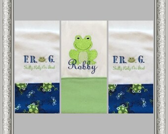 Three F.R.O.G  Personalized Embroidered Burp Cloths, 3 Blue Burp Cloths,  F.R.O.G. (Fully Rely On God) Burp Cloth, Baby Shower Gift