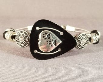 """Guitar pick and guitar string bracelet """"Paw Prints on My Heart"""""""