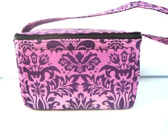 6 inch Super Large Fabric Coupon Organizer Coupon Box - With ZIPPER CLOSER Purple and Pink Fleur-de-Lis