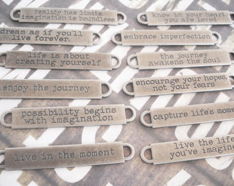 Quote Pendant Connector Antiqued Silver Oil Brushed Finish 1 PIECE Word Pendant Connector Enjoy the Journey