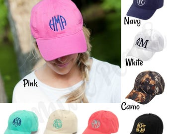 Monogrammed Cap, Personalized Cap, Personalized Baseball Cap, Women's Cap, Girl's Cap, Summer Hat, Monogram Hat, Twill Hat, Adjustable Hat
