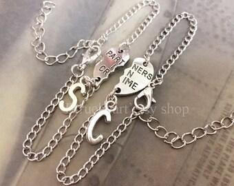 Silver initial Sisters Bracelets Partners in Crime bracelet Friendship Bracelet Silver Bracelet