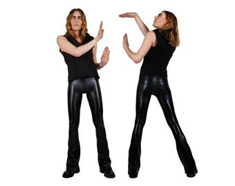 Mens Flare Leggings w. Jeans Back, Meggings, Spandex Pants, Burning Man Men, Festival Clothes Men, Festival Pants Men, Wasteland, LENA QUIST