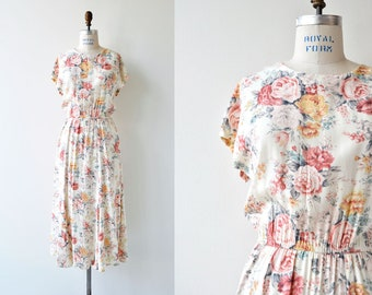Summer Rose dress | vintage floral rayon dress | pastel floral dress