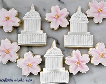 Washington DC Capitol and Cherry Blossom Cookies