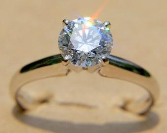 GIA Certified 1.00 carat Round - Diamond Engagement Ring Platinum - luxury - brides - engagement