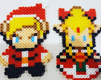Perler Link and Zelda Christmas gamer Ornaments, Key chain, magnet, holiday
