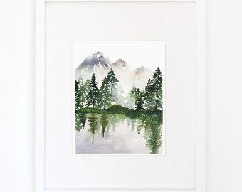 Evergreens on a Lake - Watercolor Art Print