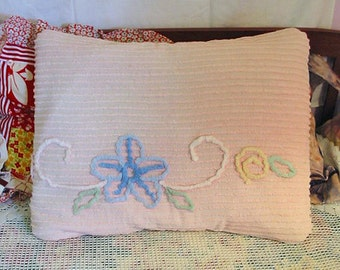 PINK CHENILLE PILLOW Sham Cover, Fluffy Tufted Blue Daisy, Mint Green Leaves, Vintage Floral Scroll Design, Soft Comfy Porch Hammock 19 x 25