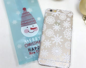 Christmas Snowflake Clear iPhone 8 Plus case iPhone X case iPhone 7 case iPhone 6S case Samsung Galaxy Note 8 case Samsung Galaxy S7 case