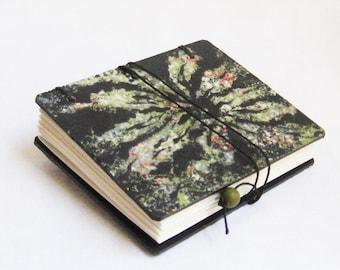 Miniature Book, Blank book, Green and Black, Flower book, organic design, gardener journal, one of a kind artist book