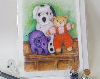Children's cuddly toys A6 Greetings Card