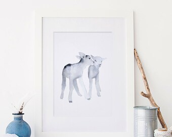 """Watercolour Lamb Painting PRINT - Signed Watercolour Lamb Giclee Print from Original Animal Painting - Gift - Nursery Art - 5x5"""" or 5x7"""""""