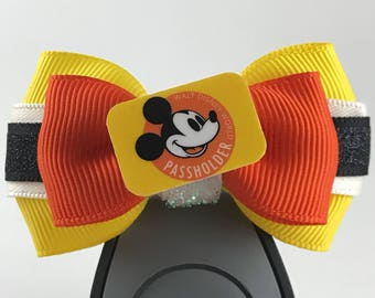 """Classic Disney World Annual Passholder (AP) Magic Band Bow, Apple Watch Bow, 2"""" Mini Hair Bow, Planner Bow -Disney Parks Collection"""