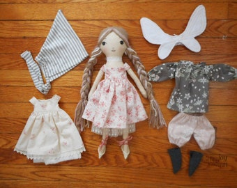 """Réservé pour Connie - SAMPLE SALE - 14"""" fée poupée - poupée de chiffon à la main - prêt à expédier - poupée de chiffon"""