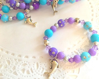 Dolphin bracelet, under the sea party favor, kids, jewelry, bracelet, beaded bracelet, bracelet favor. Set of TEN.