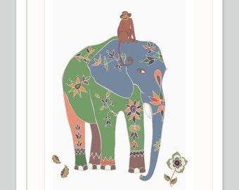 Safari Nursery Art - Indian Elephant - Quirky Jungle Theme