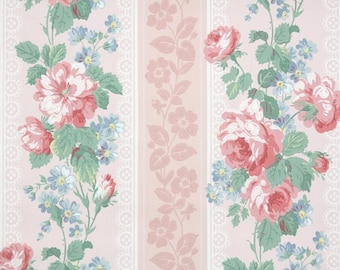 1940s Vintage Wallpaper by the Yard - Floral Wallpaper with Large Pink Roses and Blue Flowers on Pink Stripes