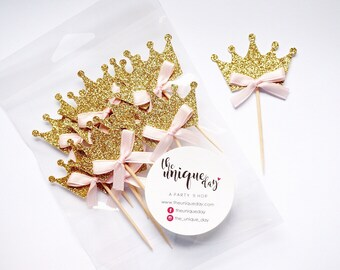 Princess Cupcake  Toppers 12CT - Crown  cupcake toppers - Handcrafted 1-2 business days - Pink and Gold Birthday Party Decorations