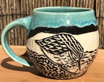 Blue sgraffito sandpiper ceramic coffee mug